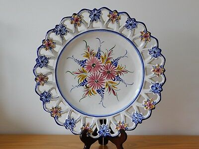 c.20th - Vintage Portugal Multi colour Hand Painted Faience Majolica Charger