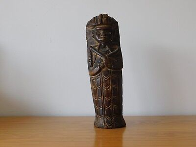 Antique Egyptian Egypt Wooden Hand Carved Pharaoh Sarcophagus Statue Figure