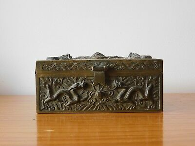 c.18th - Large Antique Chinese 4 Claw Dragon Bronze Box Qing
