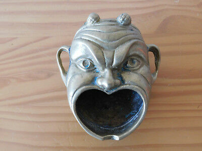 RARE Ancient Antique Roman Mythological Silenus Mask Bronze Oil Lamp or Inkwell