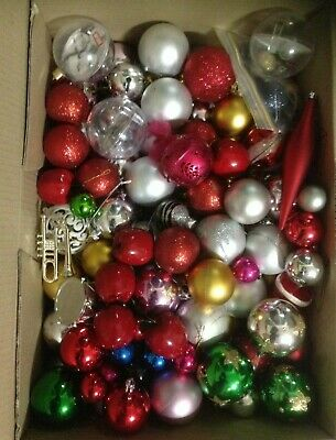 Box of 100 plus Assorted Christmas Tree Baubles  & Decorations  lot 2