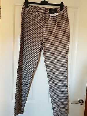 Dorothy Perkins Size 16 Skinny Brown Black Check Trousers With Stretch