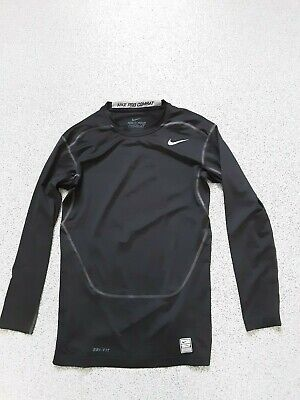 Mens NIKE PRO COMBAT DRI-FIT COMPRESSION Top Black Long Sleeve Size:M