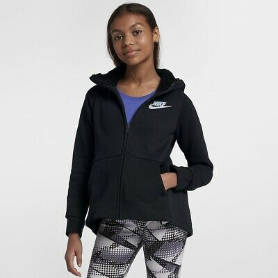Nike Girls Full Zip Sherpa Hoodie (Black) - Age 13-15 - New ~ AV8422 010