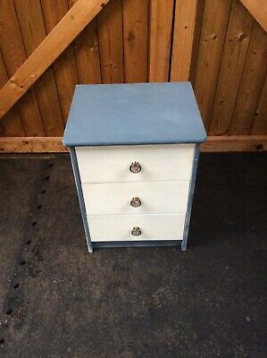 Beautiful Small Bedside Cabinet - Painted White/Grey - Solid Pine