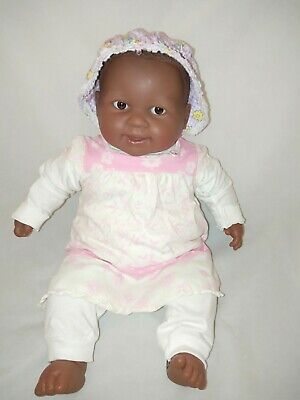 "African American 20"" Berenguer Doll Brown Cloth Body Realistic Baby Black Brown"