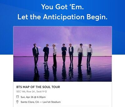 BTS Map of the Soul Tour FRONT SECTION SEATED TICKETS (SEC. 146) (2x)