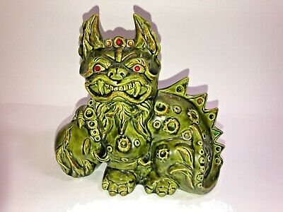Vintage Green Chinese Pottery Foo Dog Dragon with Jeweled Eyes and Tail
