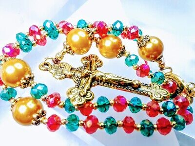 MERRY CHRISTMAS ROSARY Beautiful Candy Cane Red & Green Crystal Bead Rosary