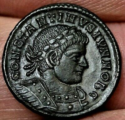 R1 RARE CONSTANTINE II, SOLDIERS-Spears, Lyons France. 330 AD Ancient Roman Coin