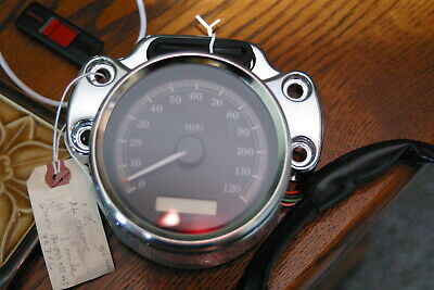 Harley Sportster XL Chrome SPEEDOMETER & Chrome Bracket with Wiring with 1-mile