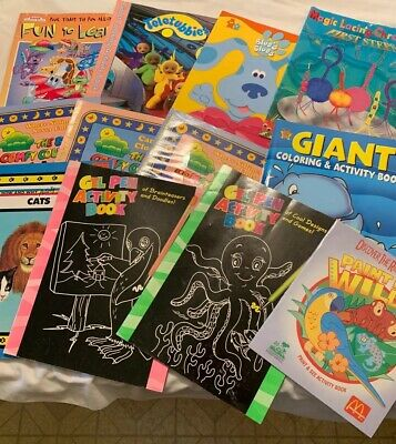 Lot Of 12 Childrens Coloring And Activity Books Blues Clues Teletubbies Gel Pens