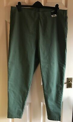 Ladies Khaki Green Pull On Trousers Elasticated Waist By George Size 20 BNWT