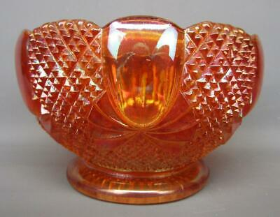 """Sowerby PINEAPPLE Marigold Foreign Carnival Glass 5½"""" Rose Bowl 477"""