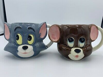 RARE Vintage 1981 Tom and Jerry Head Mugs Gorham Collectible MGM -Set Of 4.