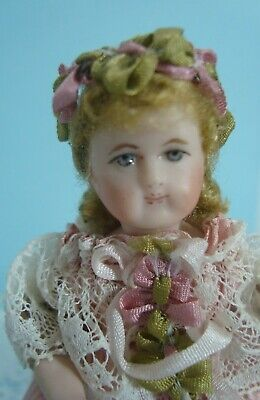 Cathy Hansen 4'' Miniature French Doll,Bisque Head, Arms & Legs,Cloth Body