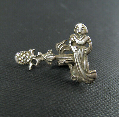 Medieval Miniature Figure In A Silver Clothes Fastener From 16Th Century