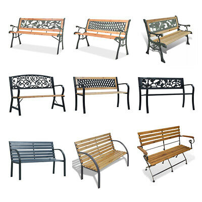 Metal Outdoor Home 2 Seat Seater Wooden Garden Bench wood Patio Park 9 Style