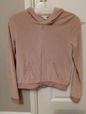 Girls 'H&M' dusky pink, soft velour hooded top. Age 12-13 yrs