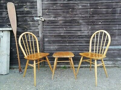 Mid Century Ercol Blonde Windsor 4a 400 Chairs for Desk Seat or Dining Quaker