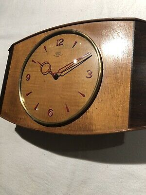 Vintage Wall / Mantle Clock , Smiths Sectric Wooden Modernist Styled C:-1950s .