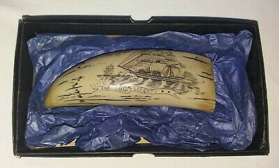 Reproduction Scrimshaw  Faux  Resin History Craft made  The  Ship  Liberty 1831