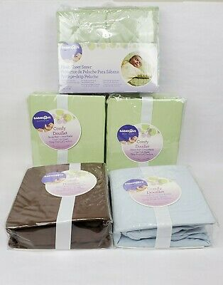 Lot of 4 Babies R US Comfy Douillet Jersey Knit One Crib Sheet & 1 Sheet Saver