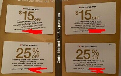 Four Macy's Star Pass Coupons (2) 25% Off and (2) $15 off $40  exp 5/31/20