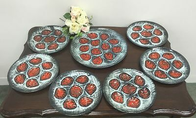 French Vintage Oyster Plates Retro Set of 6 Plates & Master  BK220