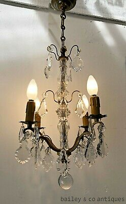 Antique French Parisian Bronze & Crystal Chandelier Working c1880 - RF571