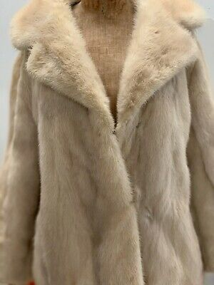 Vintage 80s Genuine MINK FUR SHORT JACKET creamy ivory coat Sz S