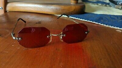 Vintage 70s Rose Red Tinted Glasses