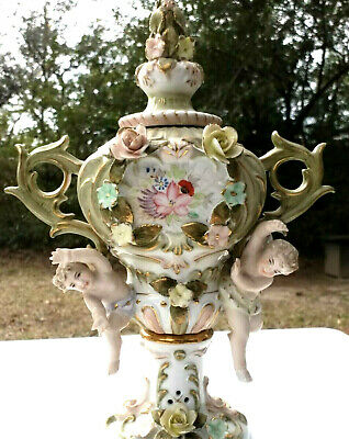 "Pair Vintage Ornate 12 1/2"" Tall Porcelain Urns Putti Applied Flowers"