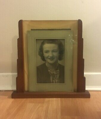 Genuine Art Deco Wooden Frame With Original Photo Of 1920's/30's Flapper Lady