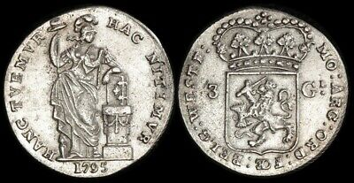 NETHERLANDS -Batavian Republic: 1795 3 Gulden.