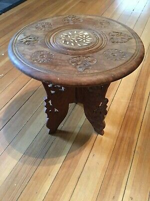 Vintage Hand Carved India Teak Wood Folding Stand/Table