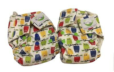 Newborn Cloth Diapers AIO lot Of Two (2), Sweet Pea Up To 18lbs, Owls!