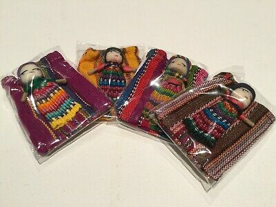 4 X Large WORRY DOLL In Textile Bag - Handmade In Guatemala