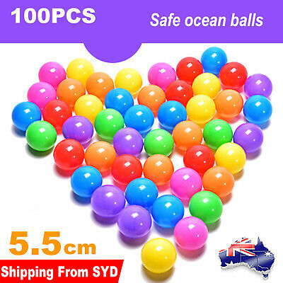 100x Ball Pit Balls Play Kids Plastic Baby Ocean Soft Toy Colourful Playpen Fun