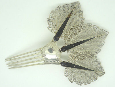 Fabulous Eastern Hallmarked Silver Ebony Three Leaves Decorated Solid Hair Comb