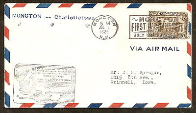 Canada Special Air Mail flights from MONCTON for CHARLOTTETOWN 1929, very fine