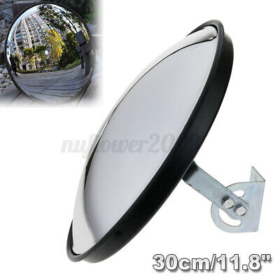 "30cm 12"" Wide Angle Security Curved Convex Road Traffic Mirror Driveway Safety"