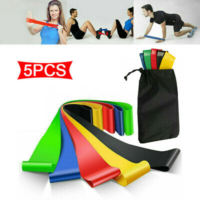 5PCS RESISTANCE BANDS LOOP SINGLES - Home Workout Exercise Glutes Yoga Pilates