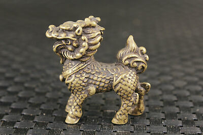 Good stand chinese old bronze hand casting kirin statue figure collectable