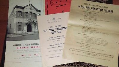 Antique  Perth  Salvation Army Fortress Song books and  Programs