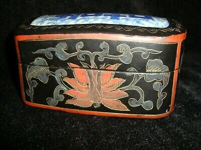 Chinese Lacquered Box with Porcelain Plaque