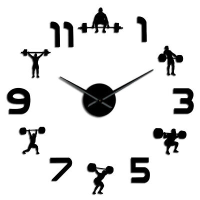 Weightlifting Fitness Room Wall Decor DIY Giant Wall Clock Mirror Effect Powerl