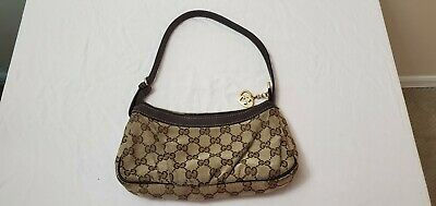 100% Auth GUCCI GG Canvas Leather Shoulder Bag Pouch Made In Italy No Reserve