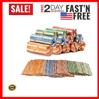 Coin Roll Wrappers - (440 Pack) Assorted Flat Coin Papers Bundle of Quarters Nic