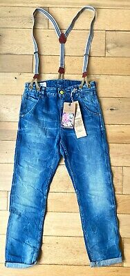 Scotch & Soda Shrunk Boys Mens Denim Jeans Straps Suspender Braces Blue Slim Fit